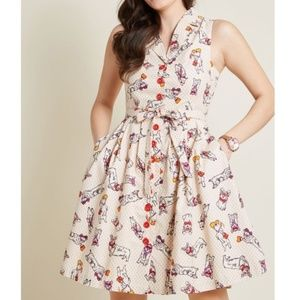 ModCloth Community Brunch Corgi Dress Medium